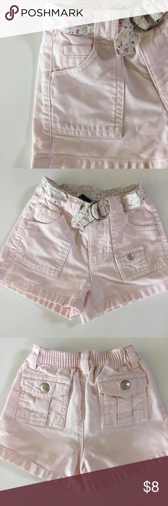 Baby Gap Pink Shorts Adorable light pink shorts with snap pockets and built in belt with dainty floral pattern.  It has an elasticized waistband on the back. GAP Bottoms Shorts