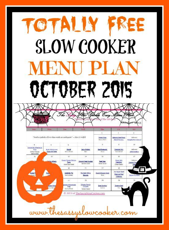 Lots of new recipes. Get our FREE Slow Cooker menu plan for October 2015