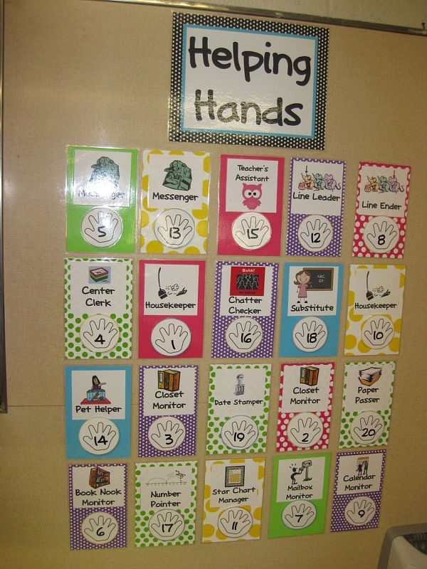 cute job chart for classroom helpers-- could also give each child a handprint with his/her name on it that could be velcroed to the spot.