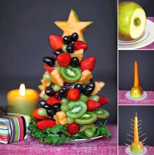 albero natale frutta http://ecodelleco.blogspot.it/2014/12/alberi-natale-verdura.html