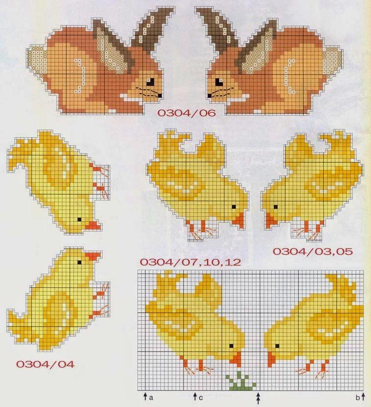 ♥Meus Gráficos De Ponto Cruz♥: Páscoa: Coelhinhos, Pintinhos e Flores em Ponto Cruz