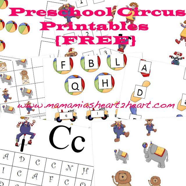 Free Preschool Circus Printables from Mama Mia's Heart2Heart