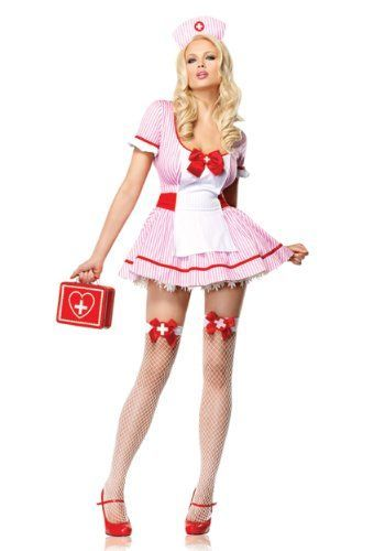 I love this short light pink naughty nurse Halloween costume.  I would wear this with a cute pair of pink shoes.  Pink Nurse Costume