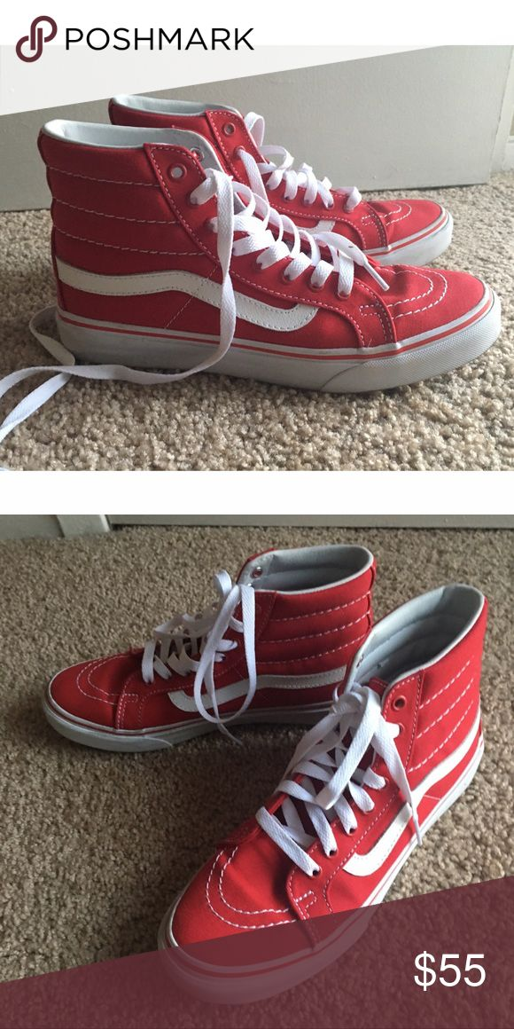 Red Vans Sk8-Hi Slim Vans Sk8-Hi Slims in red. The slims are the more feminine version of these shoes, I believe. Like new, worn once. Women's size 7.5. Men's size 6. Price is firm. Vans Shoes Sneakers