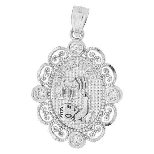 14k Tricolor Gold, Mi Bautizo Baptism Christening Religious Pendant Charm CZ Oval Medal 14mm (P001-075)
