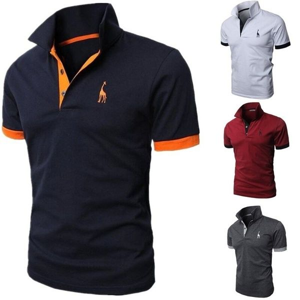 Fashion Printed Tee Personality Polo Shirts Short Mens Sleeved Deer T1KJclF