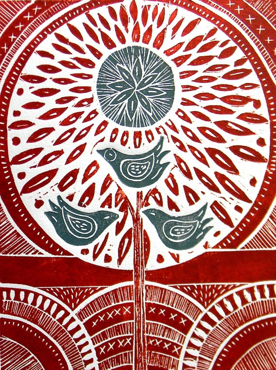 I dont know who the artist is but i like this lino print the colours red , white and blue go well together . I like the leafy shapes and the patterns on the circular shapes. When i created my lino i created more interest by carving lines in the petals and background.