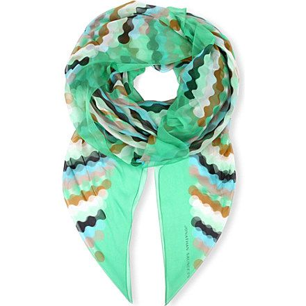 Bring a modern twist to your wardrobe with this silk-chiffon scarf from Jonathan Saunders.