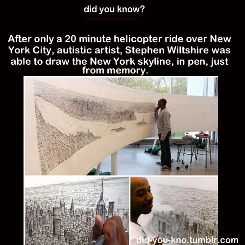did you knowAmazing, Artists, Autism Awareness, To Drawing, New York Skyline, New York Cities, Learning Style, Cities Skyline, Memories