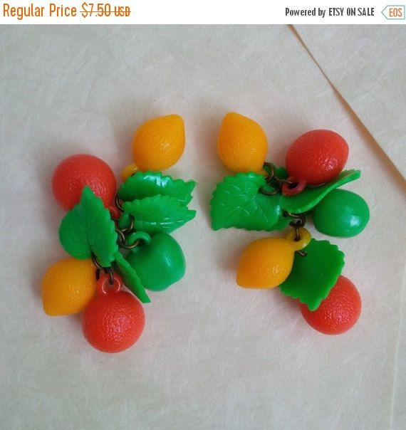 50% OFF SALE Vintage fruits and leaves charms for earrings by bila