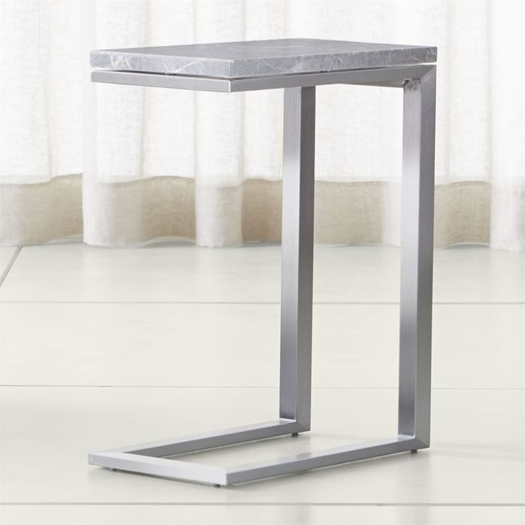 """Shop Parsons Grey Marble Top/ Stainless Steel Base 20x12 C Table. Shaped like a """"C"""", the table tucks a streamlined surface over sofa, chair or chaise, offering a handy side spot for snacks and computing."""