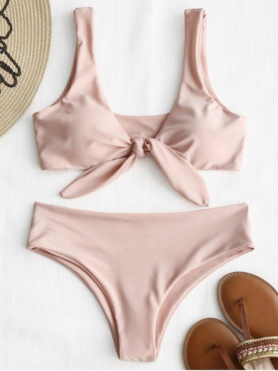 Up to 80% OFF! Front Knot Padded Bikini Set. #Zaful #Swimwear #Bikinis zaful,zaf...