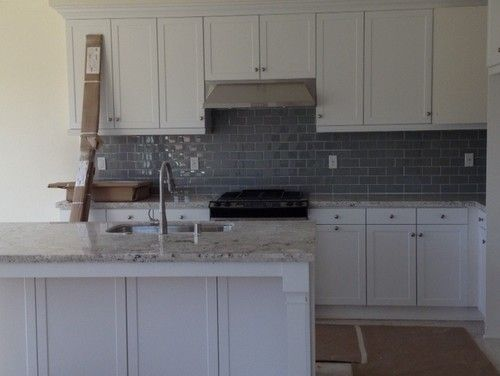Best White Kitchen With Gray Glass Backsplash Home Sweet 400 x 300