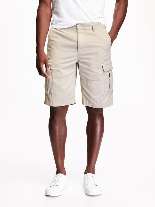 """Old Navy Button closure and zip fly. Scoop pockets in front, hidden button flap pockets in back, and hidden button flap cargo pockets on sides. Soft, durable ripstop cotton. Reinforced seams at thigh. Relaxed fit. Sits low on waist. 10 3/4"""" inseam. Shorts hit at knee."""