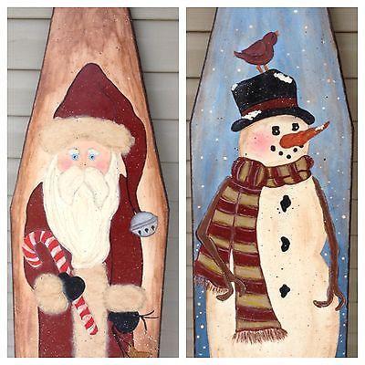 Hand Painted Santa Snowman Wooden Ironing Board   eBay