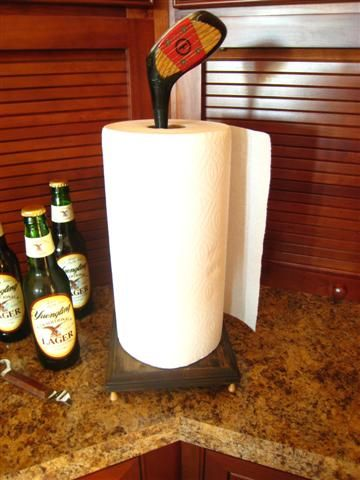 Fun Idea From Junk Camp.  Golf Club Paper Towel Holder.