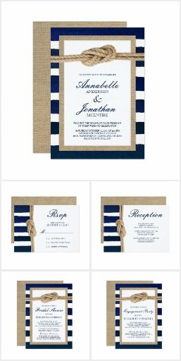 autical Knots Burlap | Wedding Invitation Collection | Uniquely You | A classic nautical wedding collection with navy and white watercolor stripes accented with a sailor's knot and burlap trim.