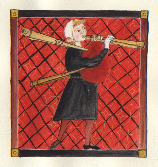 Medieval piper from the Cantigas de Santa Maria by lmainjohnson7, via Flickr