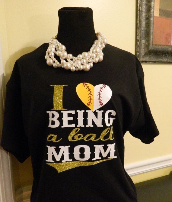 Love Being a Ball Mom T-Shirts  Split by PolkaDottedSunflower