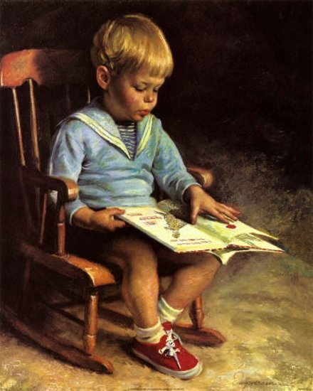 Everyone had these hanging on their walls. Emmanuel Garant, Enfant Lisant.