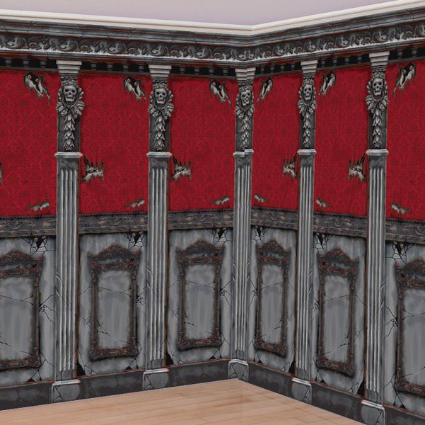 Gothic Mansion Long Hallway Scene Setter - Party City $499 - add a - halloween scene setters decorations