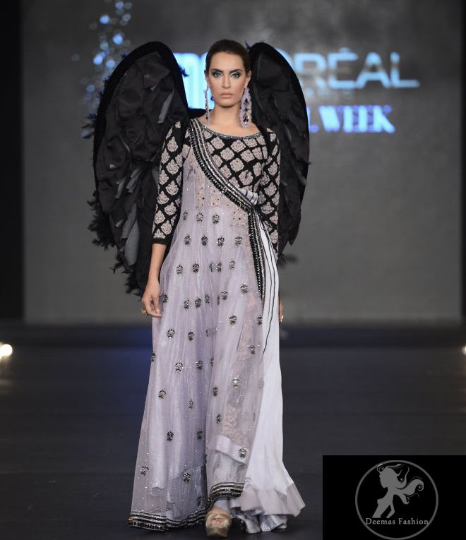 Silver Gray & Black Andrakha Style Pishwas   Latest Pakistani Fashion 2014 Bridal Dresses Formal Wear