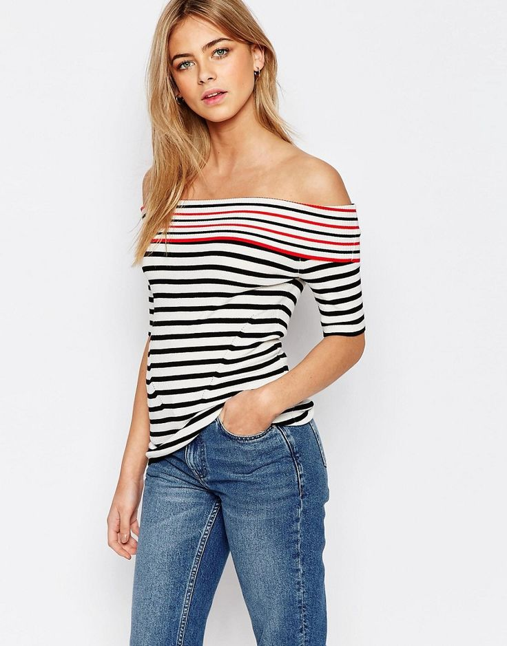 Image 1 ofOasis Stripe Bardot Top