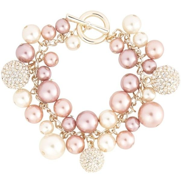 Rose gold pearl and fireball bracelet ❤ liked on Polyvore