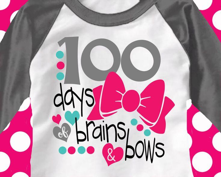 100th day of school svg,hundredth day, brains and bows svg, teacher svg, school, 100 days, SVG, DXF, EPS, 100 days shirt, girls, cut,png by ShortsandLemons on Etsy https://www.etsy.com/listing/504678875/100th-day-of-school-svghundredth-day