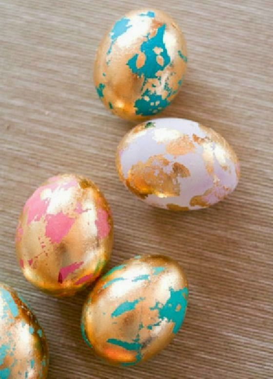 DIY - Modern Easter Egg designs and inspiration. Gold leaf, watercolor and geometric designs. Unique decorating ideas for the modern egg.