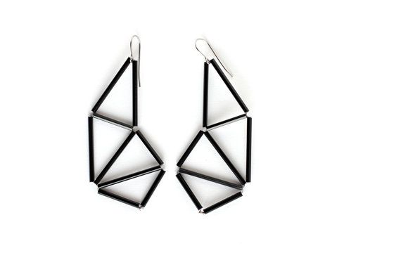 Long Geometric Earrings Dangle himmeli inspired Dynamic by zdrop