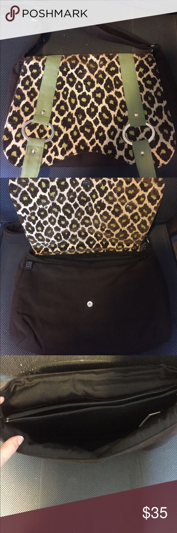 1154 Lill Custom Handbag Small custom messenger bag that could easily fit your iPad or smaller computer/tablet. Two sections with a zip pocket in between. Brown body & adjustable strap. Front is leopard print with green stripes. Barely used! In good condition. 1154 Lill Bags Shoulder Bags