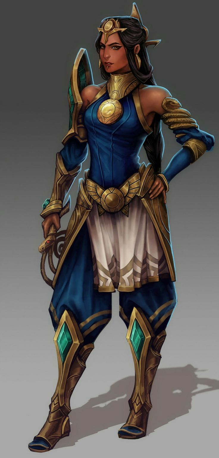 Egyptian fantasy beauty in shoulder armor. colorful and nice hair pieces. a whip in her hand,  I think? digital art.