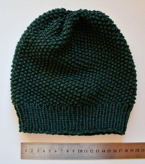 Mütze/Beanie im Perlmuster gestrickt