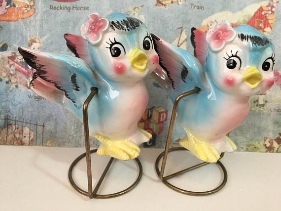 Simply adorable and whimsical salt and pepper shakers for the avid Vintage Antique Collector! Very reminiscent to the bluebirds featured in the 1950s Walt Disney musical fantasy film Cinderella. A great one-of-a-kind addition to any home decor. Can be used as unique Wedding Cake Toppers