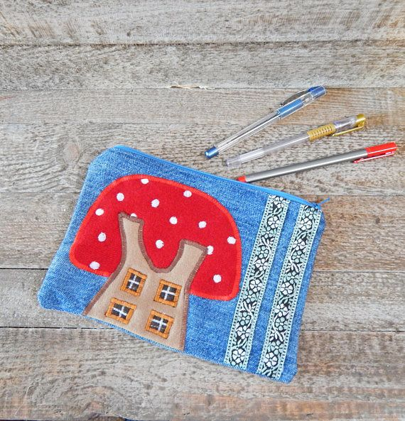 Mushroom Case Denim Pencil Case Large Pencil Case Whimsical
