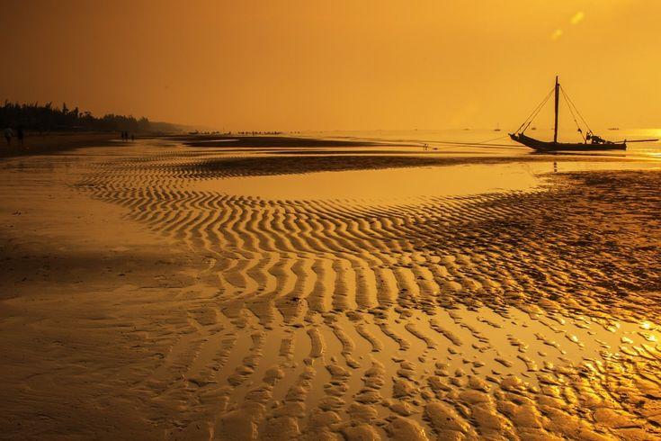 ベトナム, ビーチ, 日の出, Som の息子ビーチ, タインホア, 釣り船