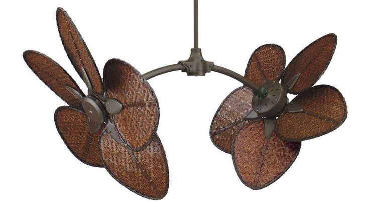 different unique ceiling fans | ... FP7000OB 52-inch Dual Ceiling Fan with Unique Woven Bamboo Blades