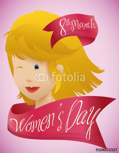 Beauty Woman Face with Pink Ribbons around for Women's Day