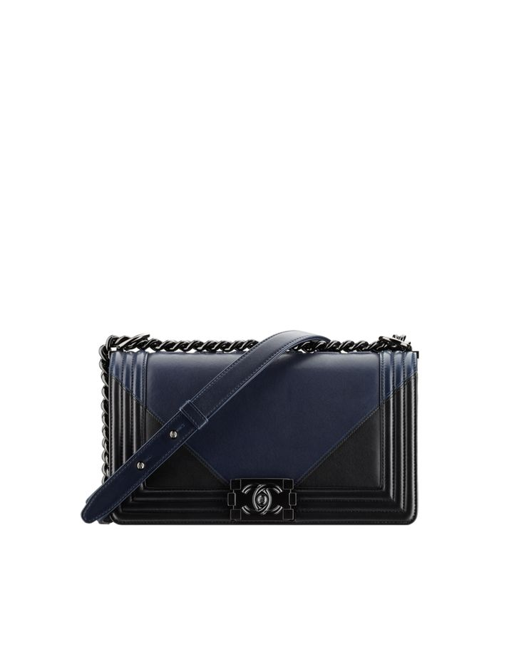 BOY CHANEL handbag, lambskin & black metal-navy blue & black - CHANEL