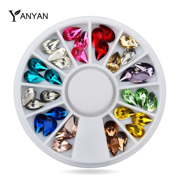 Glitter Nail Art Rhinestones, 5X8mm 36 pcs/set 3d Desain Mix Warna Acrylic UV Gel Nail Tips Gems Dekorasi, DIY Nail Aksesoris