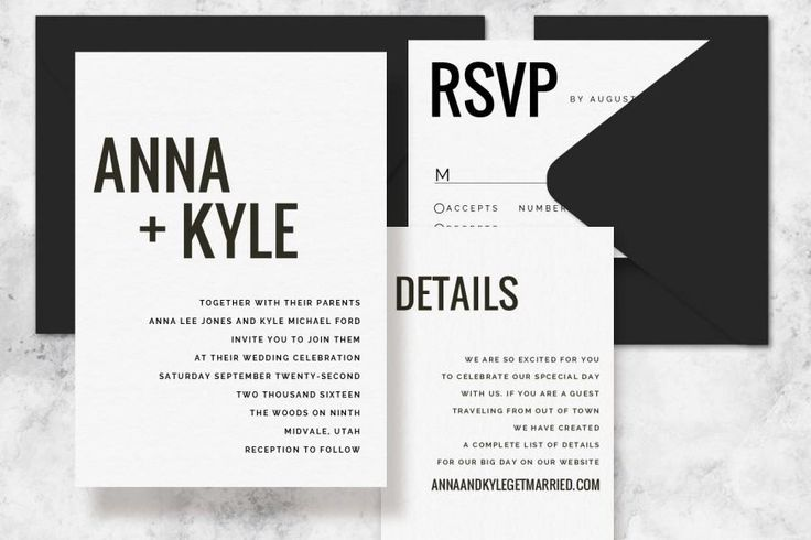 Modern Minimalist Printable Wedding Invitation Set - Wedding Invitation Template for Word