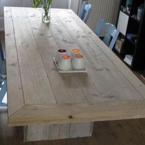 Tafel van steigerhout met blokpoten