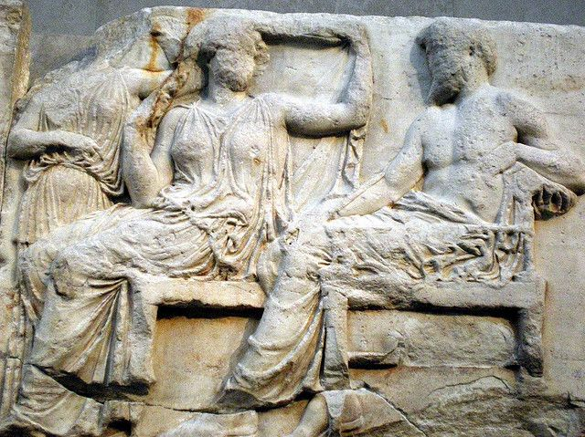 Parthenon frieze: Zeus and Hera | Marble relief from the Parthenon (Athens). British Museum, London