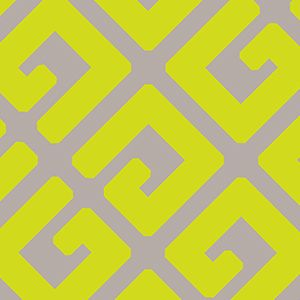 Florence Broadhurst Geometric G Maxi pattern: colour option: Wizz (Neon / Yellow on Beige)