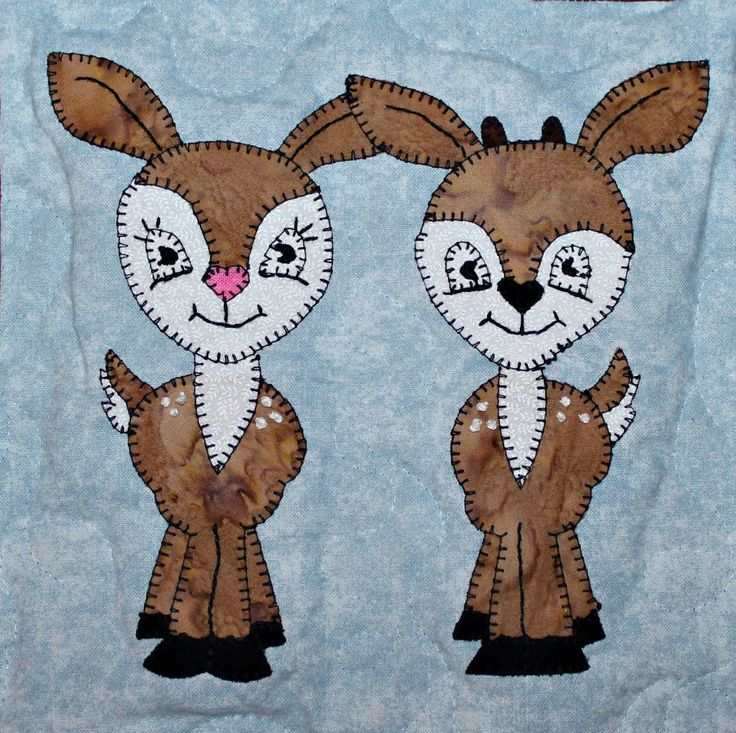 White Tailed Deer Fawn Pdf Applique Quilt Block Pattern