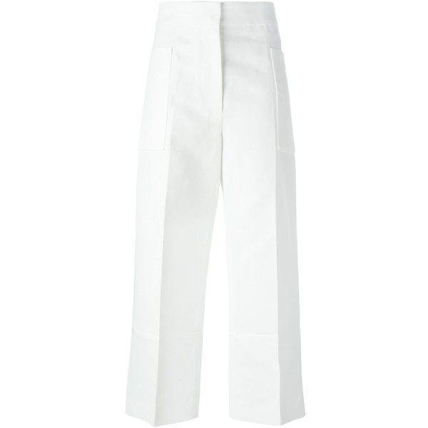 Marni cropped trousers (2.480 BRL) ❤ liked on Polyvore featuring pants, capris, white, high-waisted pants, high waisted cropped pants, wide-leg pants, white high waisted pants and white wide leg pants