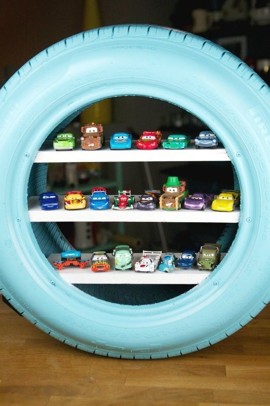 diy toy shelves from a used tire, shelving ideas Boys would love this