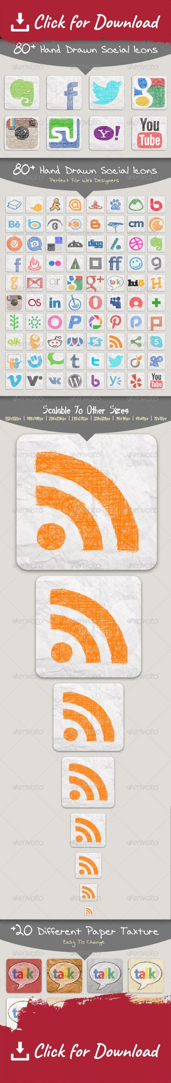 behance, blogger, digg, facebook, flickr, github, gmail, google plus, hand drawn, hi5, icon, last.fm, linkedin, myopera, paper texture, psd, reddit, renren, rss, skype, social media, social network, stumbleupon, technorati, tumblre, twitter, twitter bird, web, yahoo, youtube 82 Hand drawn social network icons, with 20 different background paper texture. 100% layerd PSD file, easy to customize and edit with any version of photoshop.   Included Icons:   Academia Anobii AOL Asianave Athlinks…