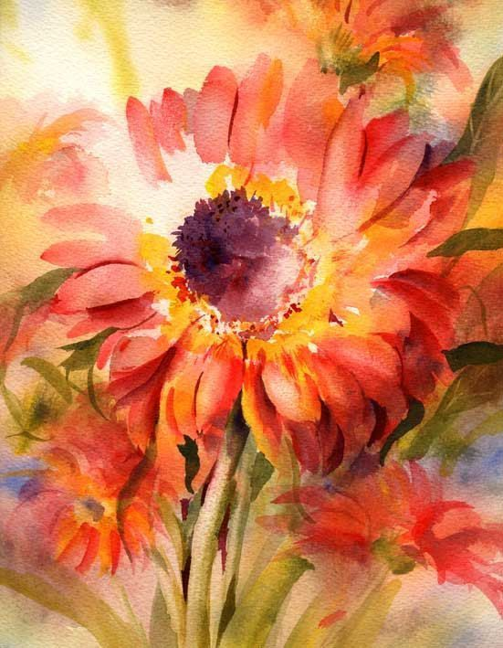 38 best art connie towns watercolorist images on pinterest red daisies watercolor print fine art giclee print from watercolor painting by connietownsart matted mightylinksfo